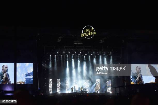 Sam Halliday Alex Trimble and Kevin Baird of Two Door Cinema Club perform on Downtown Stage during day 1 of the 2017 Life Is Beautiful Festival on...