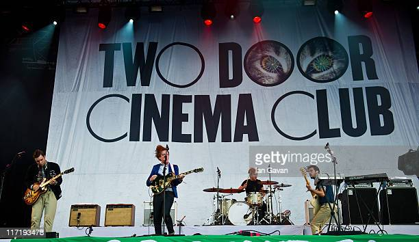Sam Halliday Alex Trimble and Kevin Baird of Two Door Cinema Club performs live on the pyramid stage during the Glastonbury Festival at Worthy Farm...
