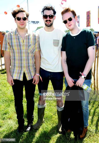 Sam Halliday Kevin Baird and Alex Trimble of Two Door Cinema Club pose backstage during day 3 of the 2013 Glastonbury Festival at Worthy Farm on June...