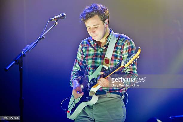 Sam Halliday of Two Door Cinema Club performs on stage at Manchester Apollo on January 26 2013 in Manchester England