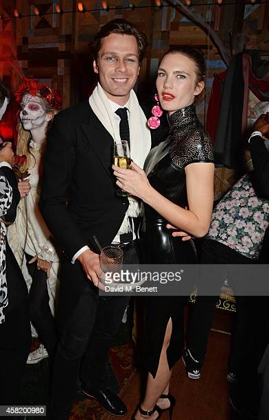 Sam Hancock and guest attend 'Death Of A Geisha' hosted by Fran Cutler and Cafe KaiZen with Grey Goose on October 31 2014 in London England