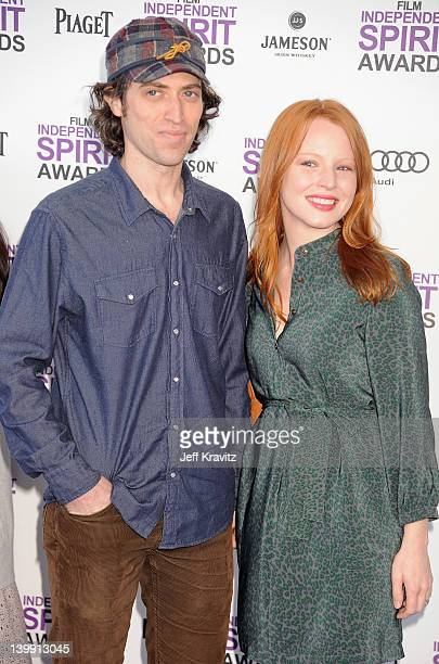Sam Handel and actress Lauren Ambrose arrive at the 2012 Film Independent Spirit Awards on February 25 2012 at Santa Monica Pier in Santa Monica...