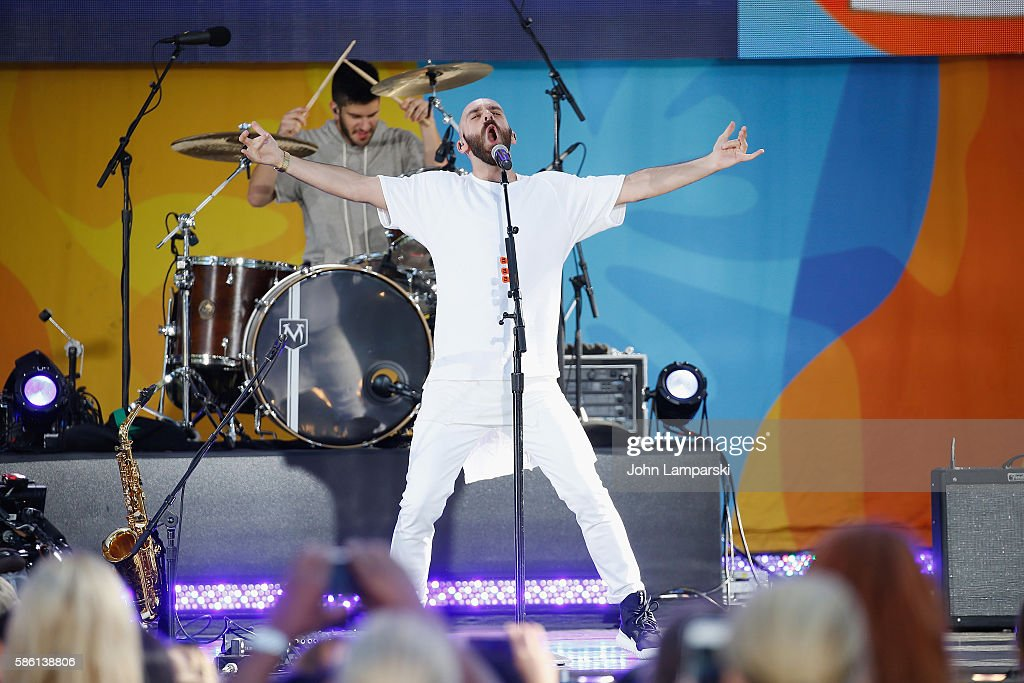 Sam Harris and Noah Feldshuh of X Ambassadors perform On ABC's 'Good Morning America' at SummerStage at Rumsey Playfield Central Park on August 5...