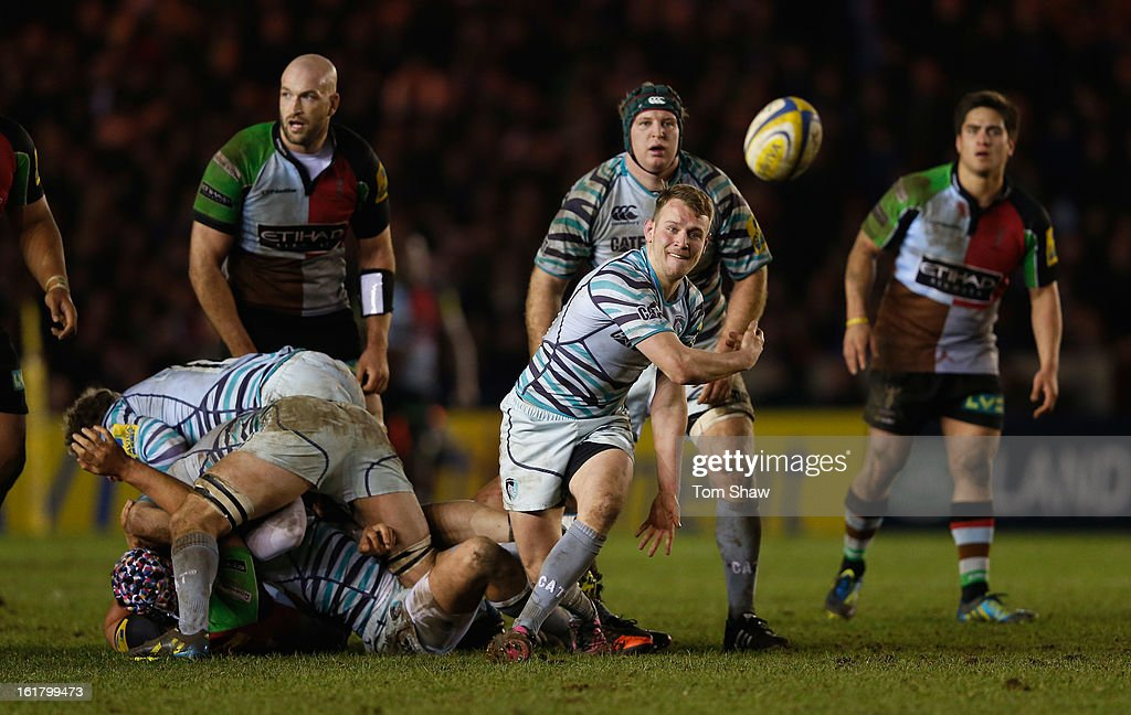 Sam Harrison of Leicester in action during the Aviva Premiership match between Harlequins and Leicester Tigers at Twickenham Stoop on February 16, 2013 in London, England.