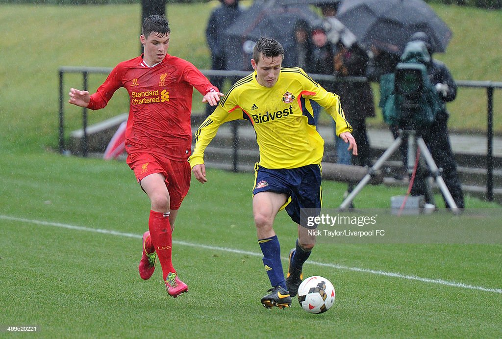 Sam Hart of Liverpool and Josh Robson of Sunderland in action during the Barclays Premier League Under 18 fixture between Liverpool and Sunderland at the Liverpool FC Academy on February 15 in Kirkby, England.