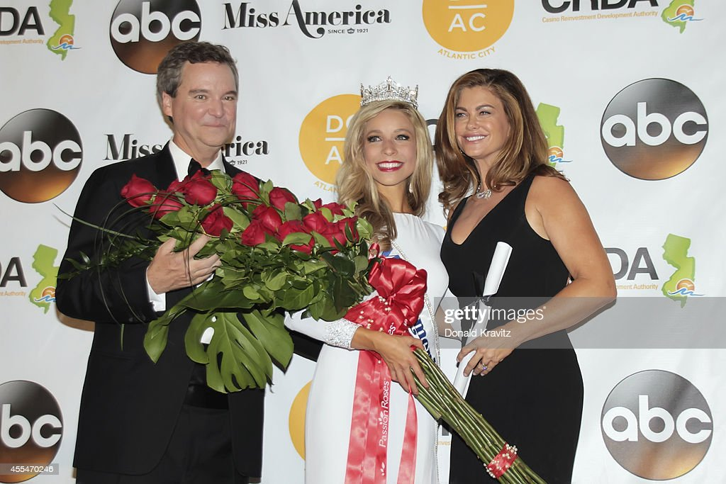 Sam Haskell, lll Chairman and Ceo of Miss America Organization, <a gi-track='captionPersonalityLinkClicked' href=/galleries/search?phrase=Kira+Kazantsev&family=editorial&specificpeople=12505447 ng-click='$event.stopPropagation()'>Kira Kazantsev</a>, Miss America 2015 and <a gi-track='captionPersonalityLinkClicked' href=/galleries/search?phrase=Kathy+Ireland&family=editorial&specificpeople=213018 ng-click='$event.stopPropagation()'>Kathy Ireland</a> at Press Conference after crowning at Atlantic City Boardwalk Hall on September 14, 2014 in Atlantic City, New Jersey.