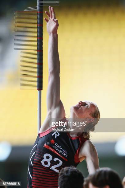 Sam Hayes of the Eastern Rangers takes part in the vertical leap during the AFLW Draft Combine at Etihad Stadium on October 4 2017 in Melbourne...