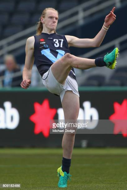 Sam Hayes of Vic Metro kicks the ball during the U18 AFL Championships match between Vic Metro and the Allies at Simonds Stadium on July 5 2017 in...