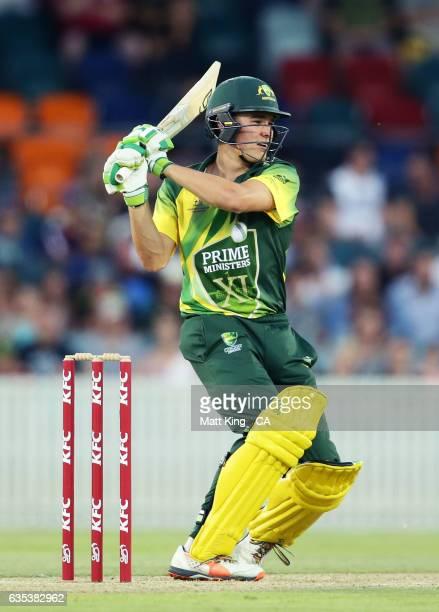 Sam Heazlett of the Australian PMXI bats during the T20 warm up match between the Australian PM's XI and Sri Lanka at Manuka Oval on February 15 2017...