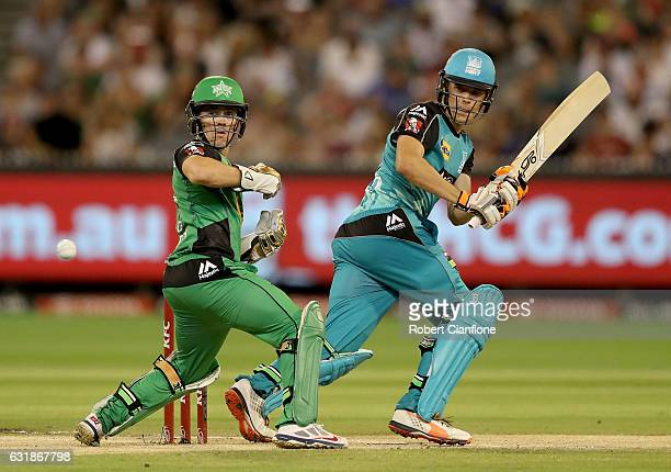 Sam Heazlett of the Brisbane Heat gets a shot past Seb Gotch of the Stars during the Big Bash League match between the Melbourne Stars and the...