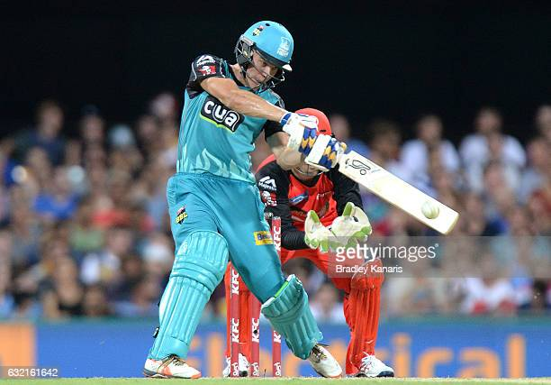 Sam Heazlett of the Heat hits the ball over the boundary for a six during the Big Bash League match between the Brisbane Heat and the Melbourne...