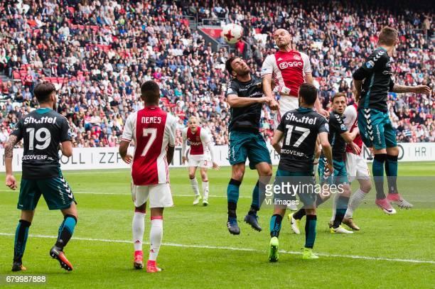 Sam Hendriks of Go Ahead Eagles David Neres of Ajax Sander Fischer of Go Ahead Eagles Heiko Westermann of Ajax Sebastien Locigno of Go Ahead Eagles...