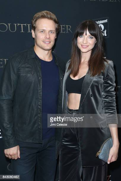 Sam Heughan and Caitriona Balfe attend the New York premiere of 'Outlander' Season Three at Time Inc on September 5 2017 in New York City