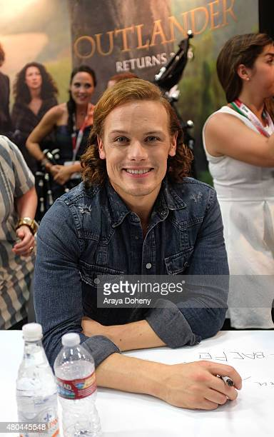 Sam Heughan of 'Outlander' signs autographs at the ComicCon International 2015 at San Diego Convention Center on July 11 2015 in San Diego California