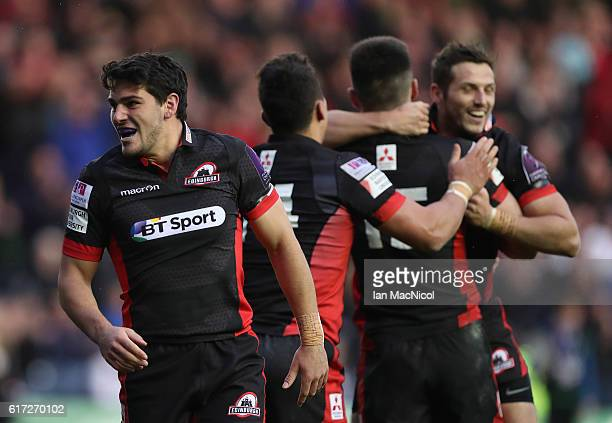 Sam HidalgoClyne of Edinburgh celebrates at full time during the European Rugby Challenge Cup match between Edinburgh and Harlequins at Murrayfield...