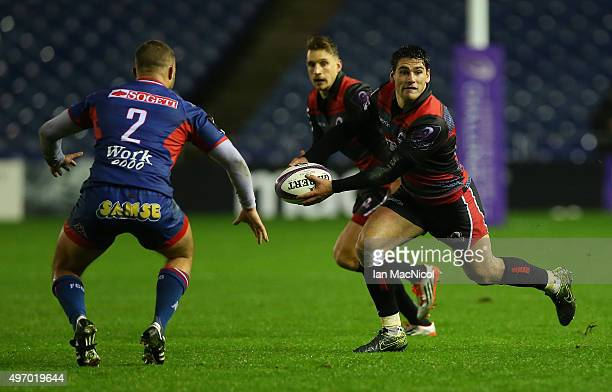 Sam HidalgoClyne of Edinburgh Rugby runs with the ball during the European Rugby Challenge Cup match between Edinburgh Rugby and Grenoble at...