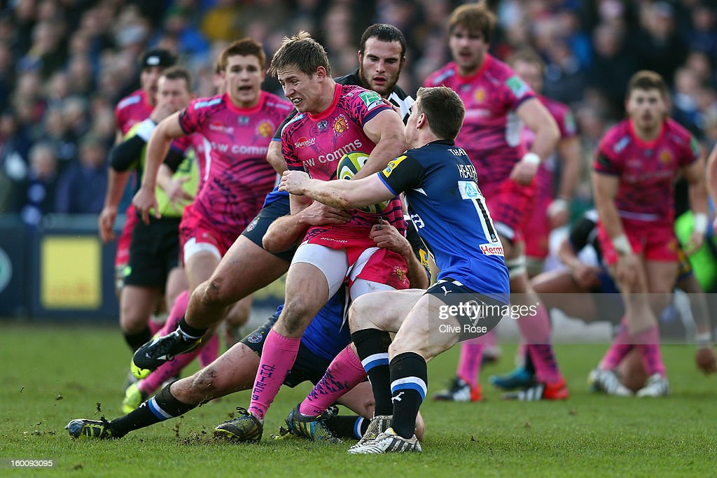 Sam Hill of Exeter Chiefs is tackled during the LV= Cup match between Bath and Exeter Chiefs at the Recreation Ground on January 26, 2013 in Bath, England.