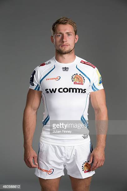 Sam Hill of Exeter Chiefs poses for a picture during the Exeter Chiefs photocall for BT at Sandy Park Stadium on September 8 2015 in Exeter England