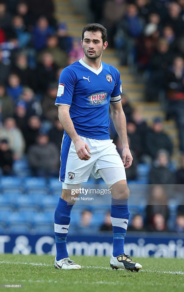 Sam Hird of Chesterfield in action during the npower League Two match between Chesterfield and Northampton Town at the Proact Srtadium on January 12, 2013 in Chesterfield, England.