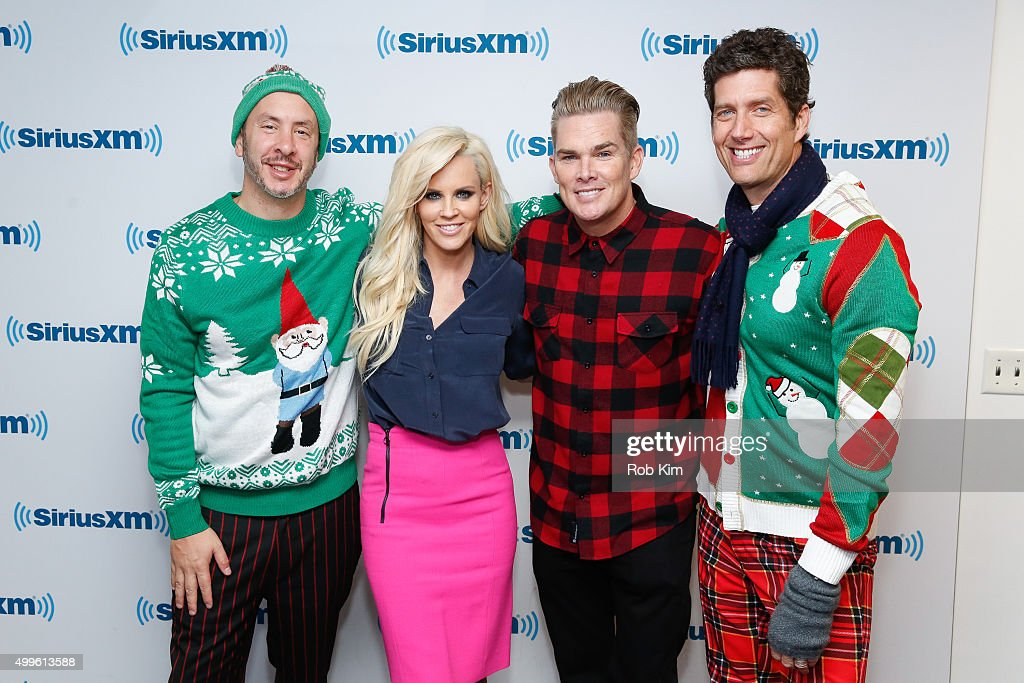 Sam Hollander Jenny McCarthy Mark McGrath and Kevin Griffin visit at SiriusXM Studios on December 2 2015 in New York City