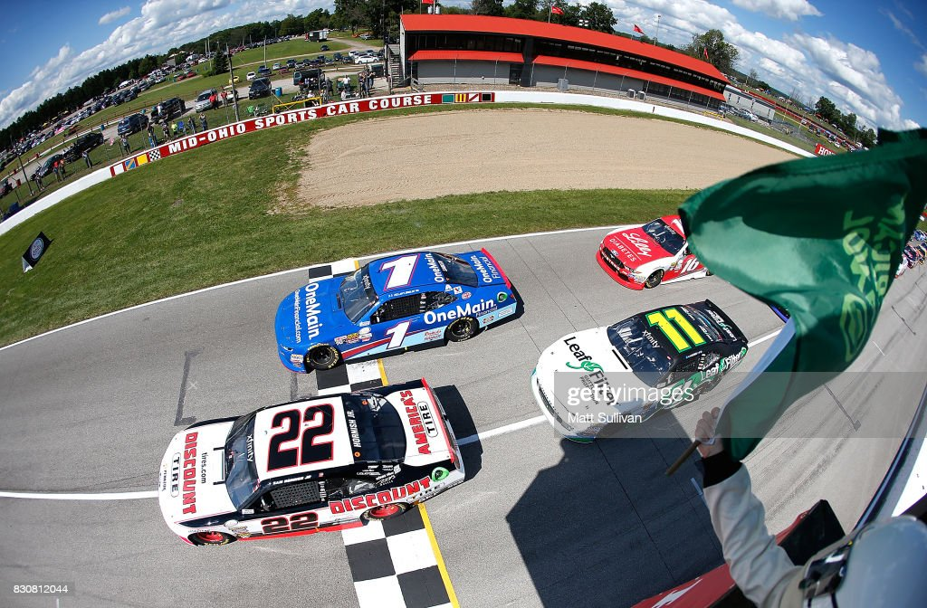 Sam Hornish Jr., driver of the #22 Discount Tire Ford, takes the green flag to start the NASCAR XFINITY Series Mid-Ohio Challenge at Mid-Ohio Sports Car Course on August 12, 2017 in Lexington, Ohio.