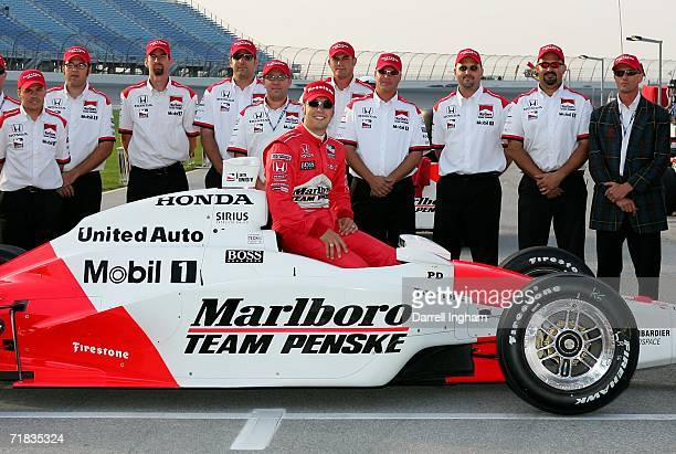 Sam Hornish Jr driver of the Marlboro Team Penske Dallara Honda takes pole position during practice for the IRL IndyCar Series PEAK Antifreeze Indy...