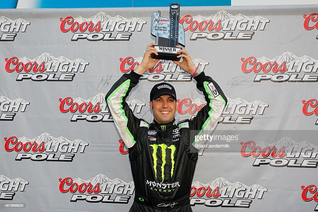 <a gi-track='captionPersonalityLinkClicked' href=/galleries/search?phrase=Sam+Hornish+Jr.&family=editorial&specificpeople=176571 ng-click='$event.stopPropagation()'>Sam Hornish Jr.</a>, driver of the #54 Monster Energy Toyota, celebrates setting the pole position in qualifying for the NASCAR Nationwide Series Aaron's 312 at Talladega Superspeedway on May 2, 2014 in Talladega, Alabama.