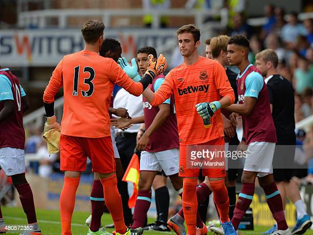 Sam Howes of West Ham United replaces Adrain San Miguel during the Pre Season Friendly match between Peterborough United and West Ham United at...