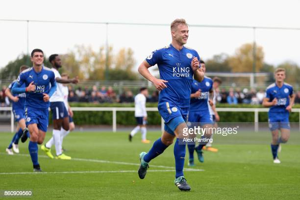 Sam Hughes of Leicester City celebrates after scoring his sides first goal during the Premier League 2 match between Tottenham Hotspur and Leicester...