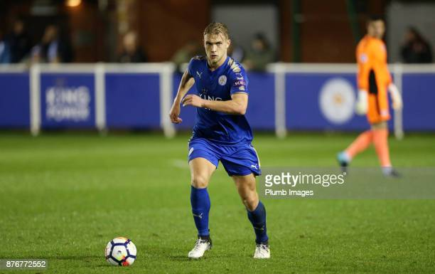 Sam Hughes of Leicester City in action during the Premier League 2 match between Leicester City and Sunderland at Holmes Park on November 20th 2017...
