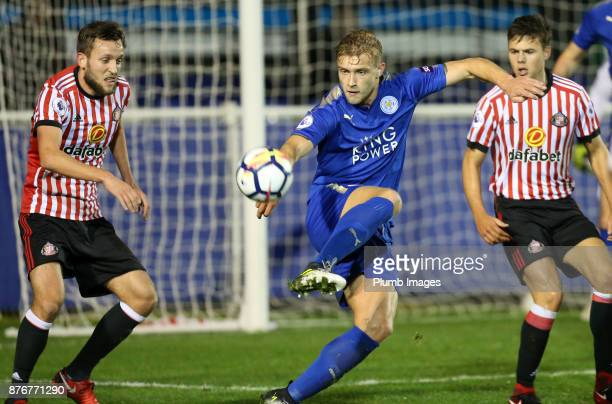 Sam Hughes of Leicester City in action with Josh Robson of Sunderland during the Premier League 2 match between Leicester City and Sunderland at...