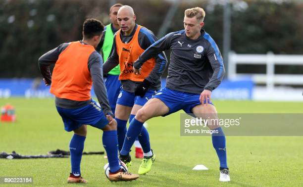 Sam Hughes of Leicester City warmsup ahead of the Premier League 2 match between Leicester City and Everton at Belvoir Drive Training Ground on...