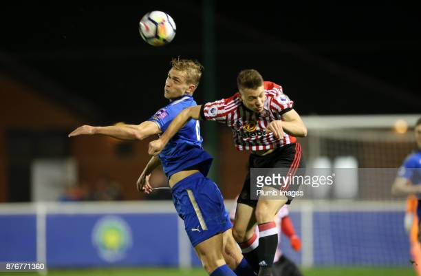 Sam Hughes of Leicester City wins a header during the Premier League 2 match between Leicester City and Sunderland at Holmes Park on November 20th...