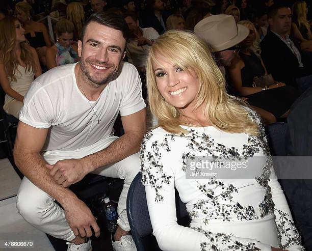 Sam Hunt and Carrie Underwood attend the 2015 CMT Music awards at the Bridgestone Arena on June 10 2015 in Nashville Tennessee