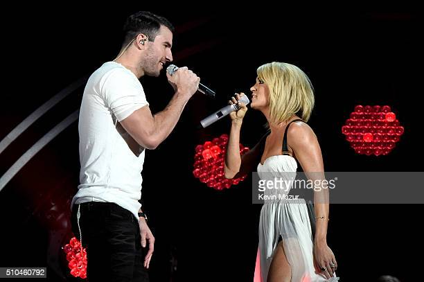 Sam Hunt and Carrie Underwood perform onstage during The 58th GRAMMY Awards at Staples Center on February 15 2016 in Los Angeles California