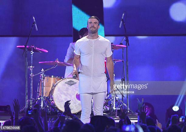 Sam Hunt performs onstage during the 2015 CMT Music awards at the Bridgestone Arena on June 10 2015 in Nashville Tennessee