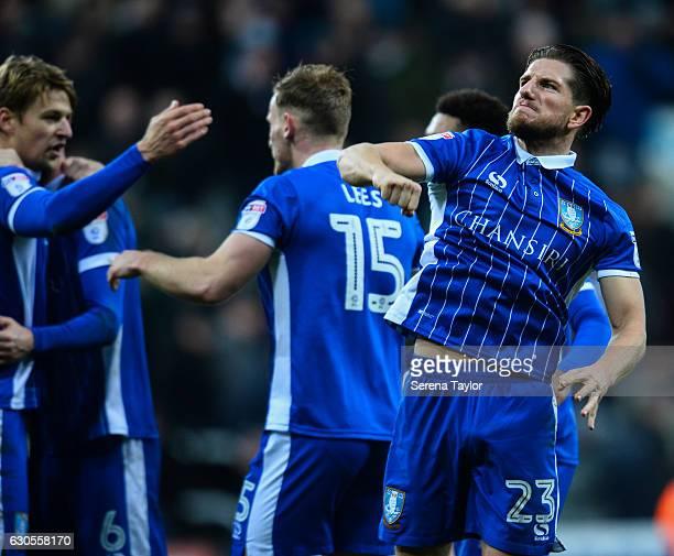 Sam Hutchinson of Sheffield Wednesday celebrates after winning the Sky Bet Championship match between Newcastle United and Sheffield Wednesday at...