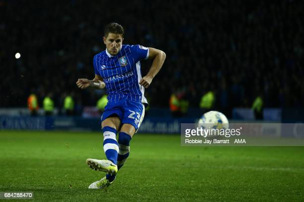 Sam Hutchinson of Sheffield Wednesday misses a penalty during the Sky Bet Championship match between Sheffield Wednesday and Huddersfield Town at...