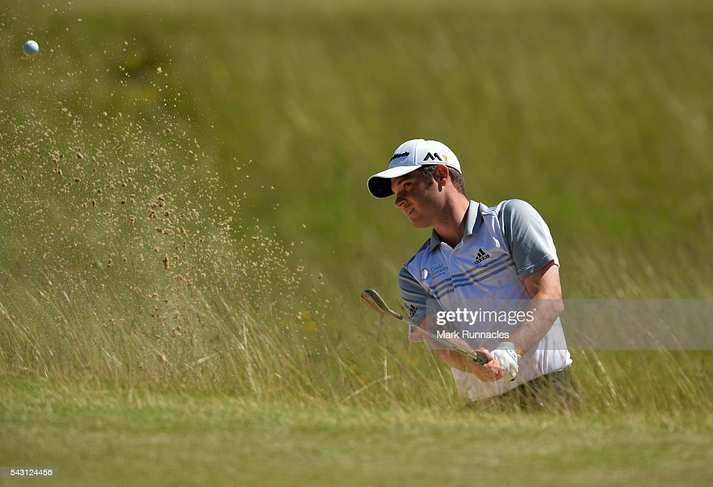 <a gi-track='captionPersonalityLinkClicked' href=/galleries/search?phrase=Sam+Hutsby&family=editorial&specificpeople=2296389 ng-click='$event.stopPropagation()'>Sam Hutsby</a> of England bunker shot to the 1st during the final day of the 2016 SSE Scottish Hydro Challenge at the MacDonald Spey Valley Golf Course on June 26, 2016 in Aviemore, Scotland.