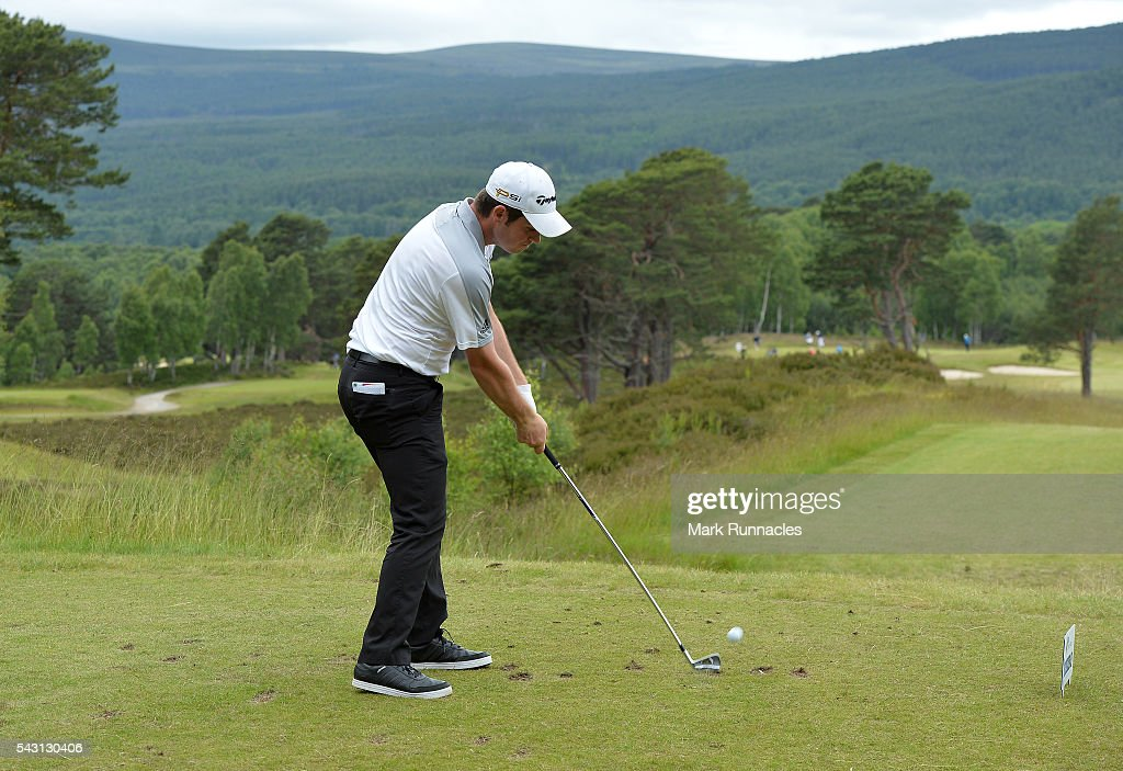 <a gi-track='captionPersonalityLinkClicked' href=/galleries/search?phrase=Sam+Hutsby&family=editorial&specificpeople=2296389 ng-click='$event.stopPropagation()'>Sam Hutsby</a> of England Tee shot to the 9th during the final day of the 2016 SSE Scottish Hydro Challenge at the MacDonald Spey Valley Golf Course on June 26, 2016 in Aviemore, Scotland.
