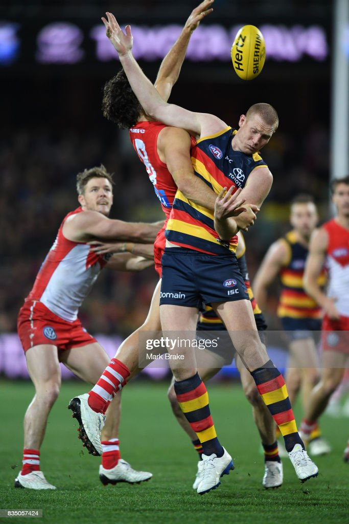 Sam Jacobs of the Crows and Kurt Tippett of the Swans competes during the round 22 AFL match between the Adelaide Crows and the Sydney Swans at Adelaide Oval on August 18, 2017 in Adelaide, Australia.