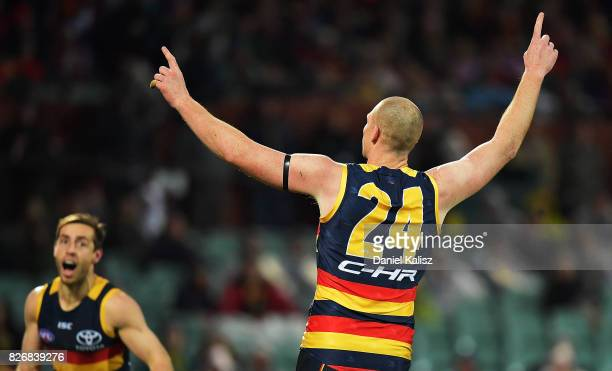 Sam Jacobs of the Crows celebrates after kicking a goal during the round 20 AFL match between the Adelaide Crows and the Port Adelaide Power at...