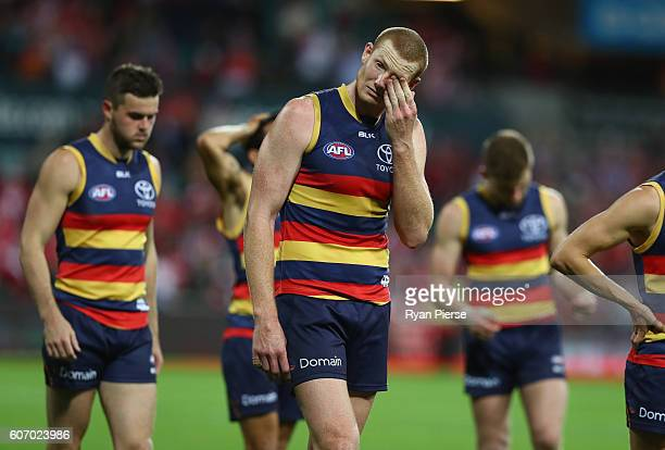 Sam Jacobs of the Crows looks dejected after the First AFL Semi Final match between the Sydney Swans and the Adelaide Crows at the Sydney Cricket...