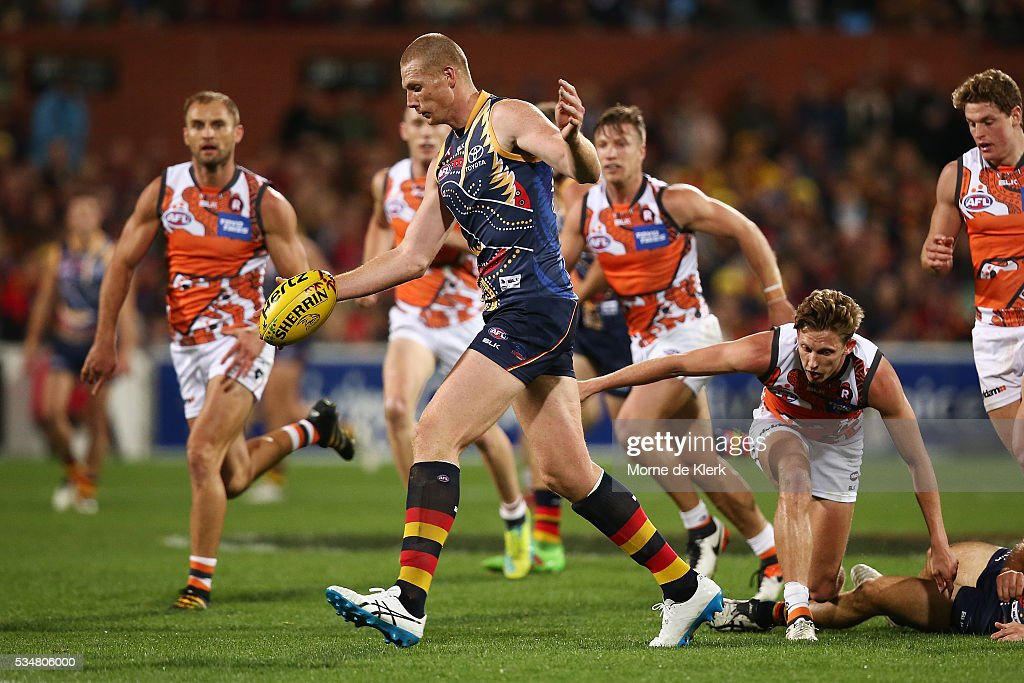 Sam Jacobs of the Crows wins the ball in the middle during the round 10 AFL match between the Adelaide Crows and the Greater Western Sydney Giants at Adelaide Oval on May 28, 2016 in Adelaide, Australia.
