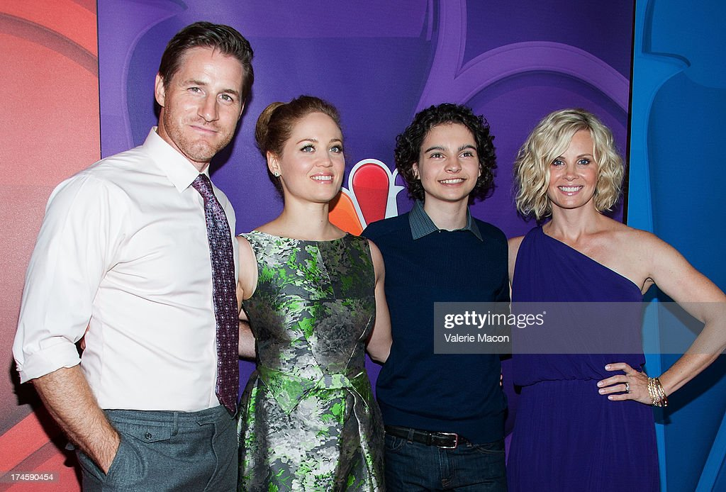 Sam Jaeger, Erika Christensen, Max Burkholde and Monica Potter arrives at the NBCUniversal's '2013 Summer TCA Tour' at The Beverly Hilton Hotel on July 27, 2013 in Beverly Hills, California.