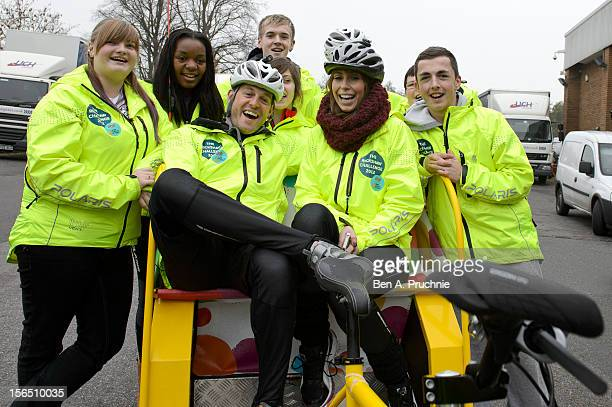 Sam Jamila Matt Baker James Lauren Alex Jones and Darren of Team Rickshaw pose for photos on the final leg of their epic 411 mile journey to raise...