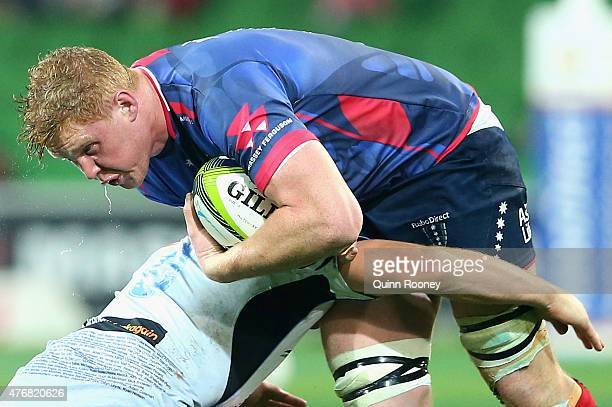Sam Jeffries of the Rebels is tackled during the round 18 Super Rugby match between the Rebels and the Force at AAMI Park on June 12 2015 in...