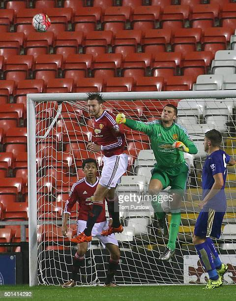 Sam Johnstone and Nick Powell of Manchester United U21s in action during the Barclays U21 Premier League match between Manchester United U21s and...