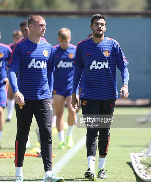 Sam Johnstone and Sergio Romero of Manchester United in action during a first team training session as part of their preseason tour of the USA at...