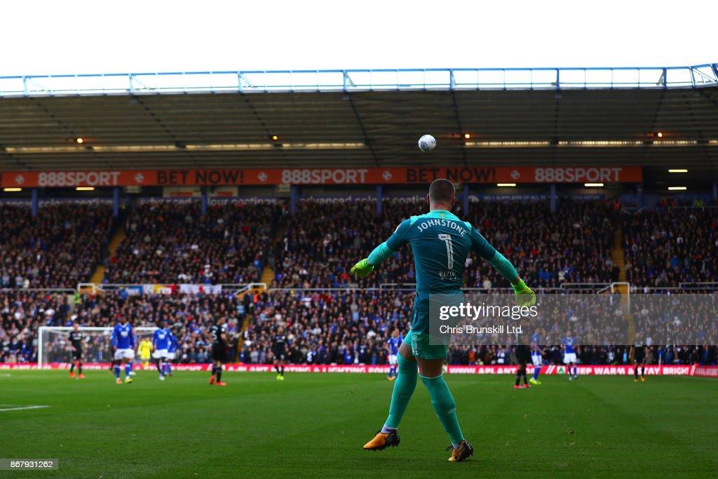 Sam Johnstone of Aston Villa clears the ball upfield during the Sky Bet Championship match between Birmingham City and Aston Villa at St Andrews (stadium) on October 29, 2017 in Birmingham, England.